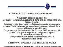 Comunicato scioglimento Pescara Rangers sez. Silvi  '02