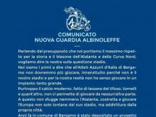 Albinoleffe e stadio di Bergamo, comunicato dei tifosi
